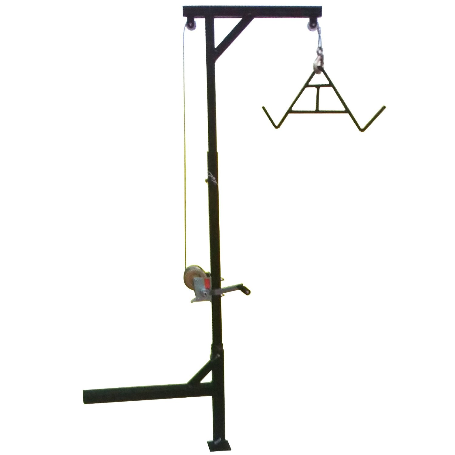 Hitch Mounted 600 Pound Swivel Game Hunting Deer Hoist with Winch Lift Gambrel