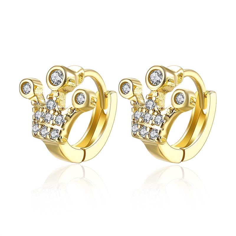 0a072e04d2 De moda de cristal de lujo ultra delgado 18 quilates pendientes de aro de  Oro Grande