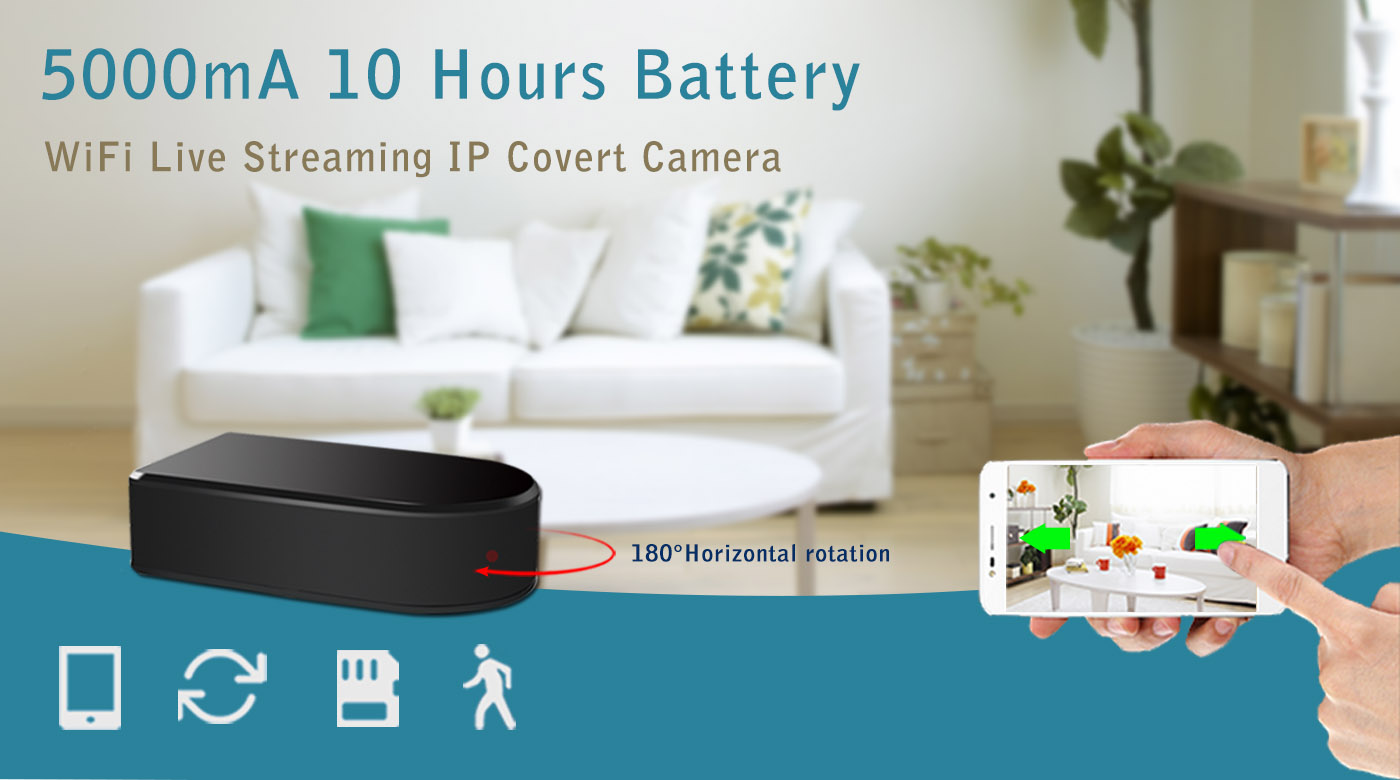 Aishine First Rotating Hidden Camera 1080P Pro Black Box Spy Cam Internal 5000mA 10Hours Battery for Home Security Easily
