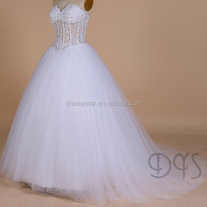 White sweetheart ball gown see through pearl beaded lace corset wedding  dress bridal dress 2018 9178b3aa6c56