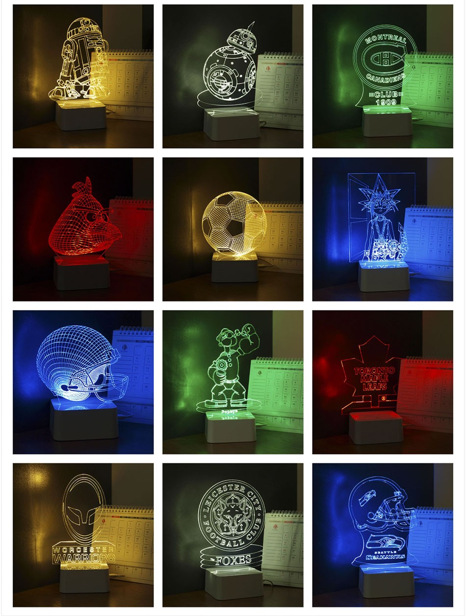 CNHIDEE 3D Visual Led Night Lights for Kids Robort R2 Touch Table Lampara as Besides Lampe for Star war Fans (7)