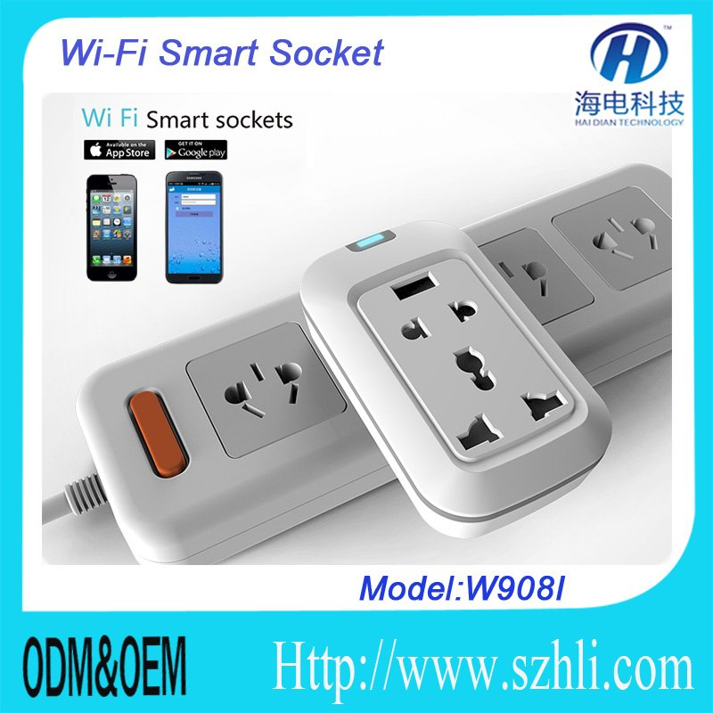 WIFI Multifunction USB wall socket Surge protector gsm switch WIFI smart home wall socket switch