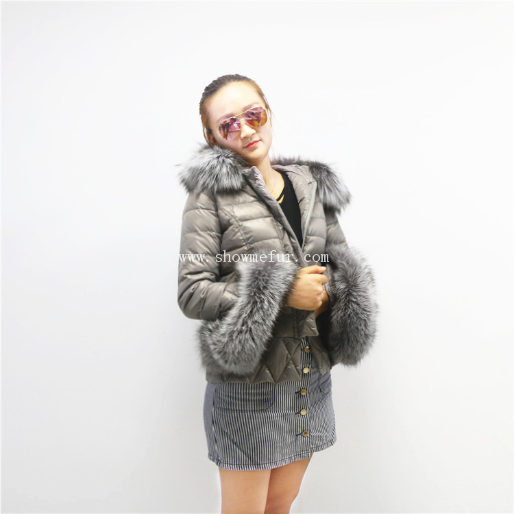 Factory Price Fox Fur Trim Hood Duck Real Feather Down Jacket Winter Down Coat