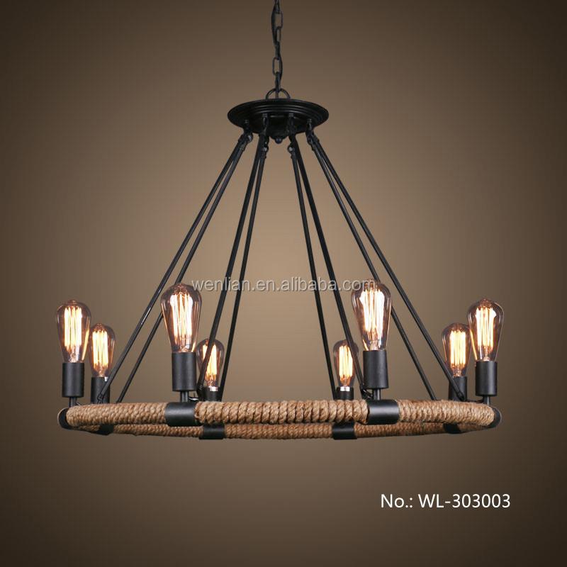 touw 8 koppen eetkamer hanglamp, retro landelijke stijl woonkamer ...