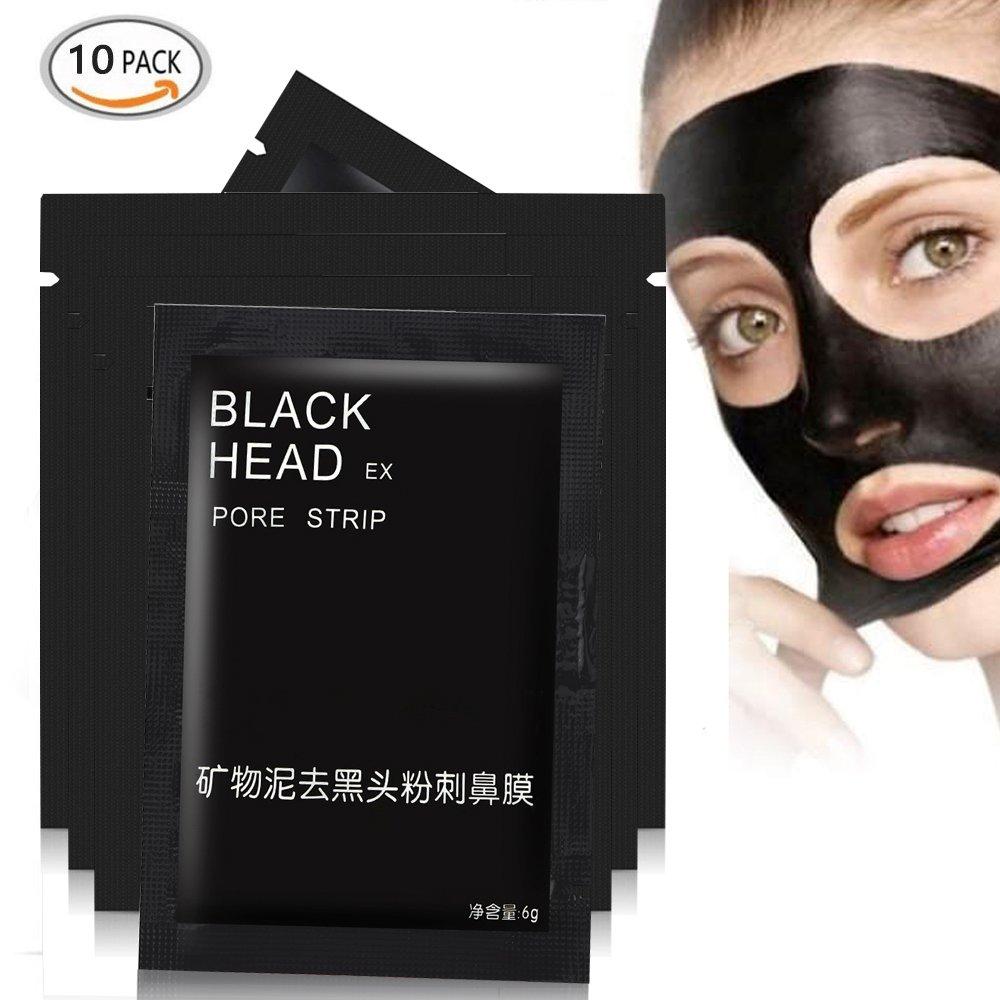 10pcs Mineral Black Mud Nose Blackhead Remover Face Facial Black Mask Pore Acne Treatments Mask Cleaner Pore Cleansing Blackhead Mask Strips