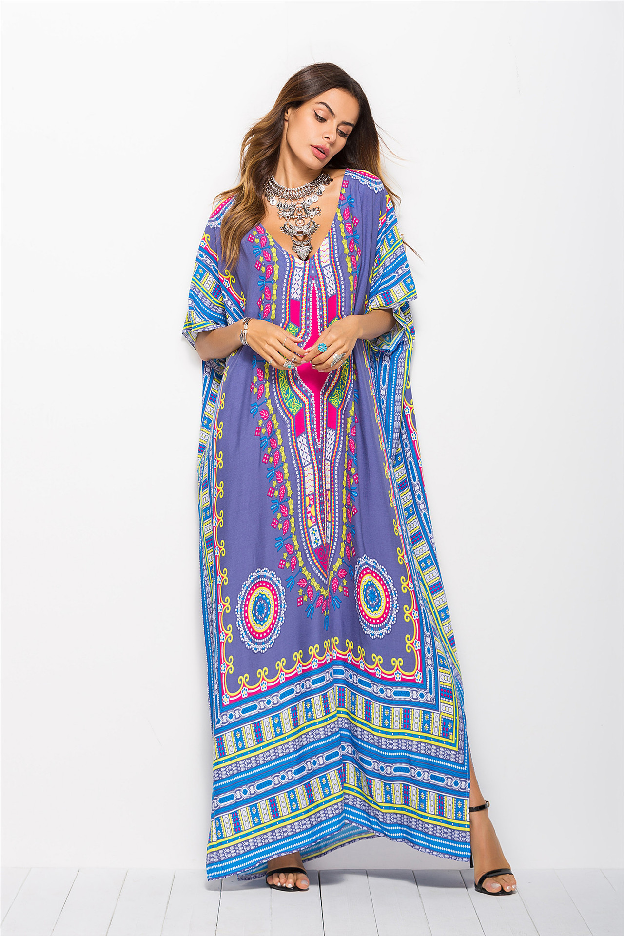 OEM Summer Bohemia style fashion design women maxi printed traditional floral long sleeve dress