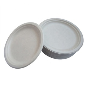 Biodegradable eco friendly compostable tableware one time bamboo fiber sugarcane bagasse plate