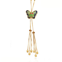 42356 xuping imitation jewels, 23K gold Plated Brass colorful Butterfly Necklace