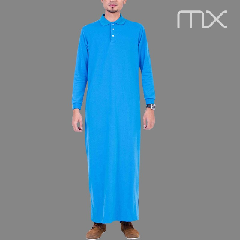2015 Indonesia Latest Jubah Blue Kurta Collar Style Arabic Jubba ...