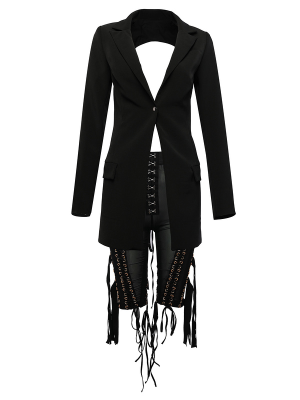 A2909 new style 2 piece black and white  crisscross midi see through mesh pant and hollow out blazer suits for women wear