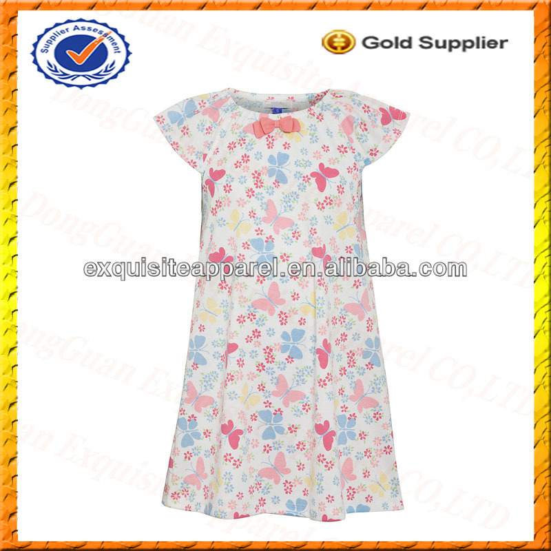 Custom 100% Cotton Kids Flower Dresses/Kids Long Print Beach Dresses Wholesale