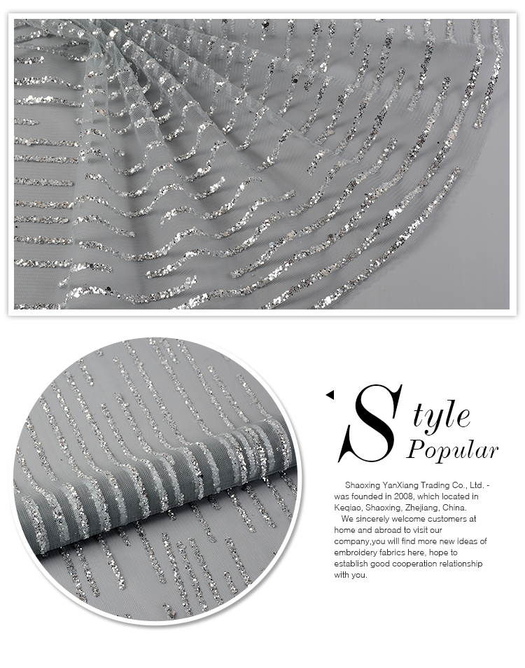Fancy design customized elegant poly stripe sliver sequin fabric