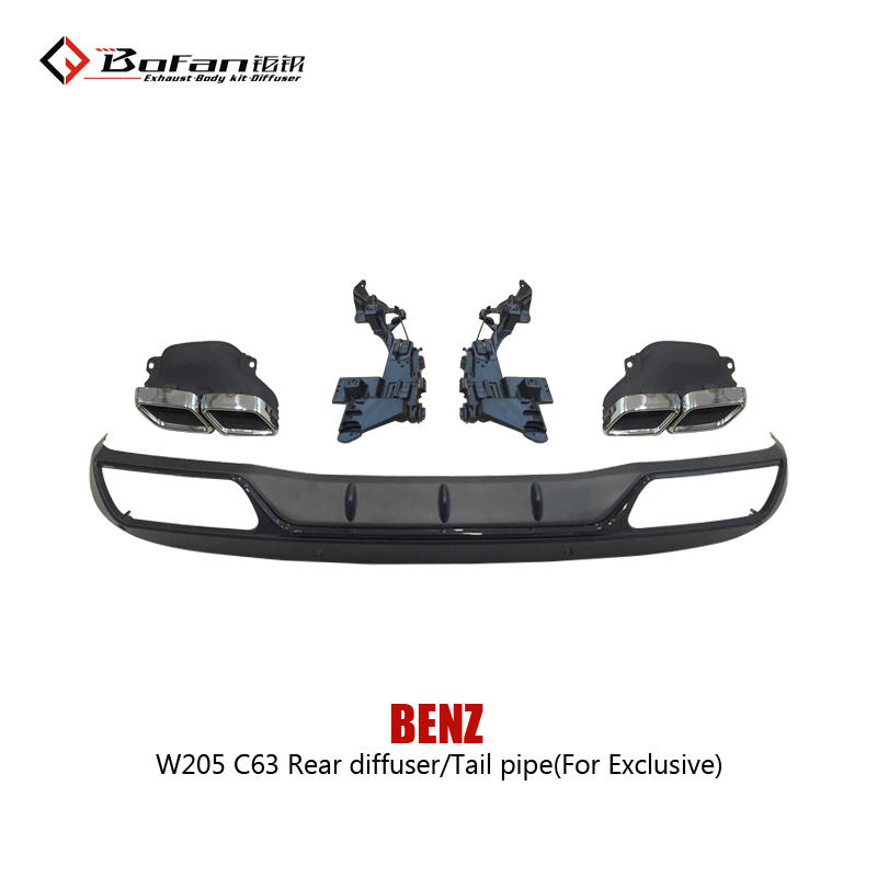 Hot Sale!! C63 W205 Rear diffuser with exhaust tail pipe (FOR EXCLUSIVE)