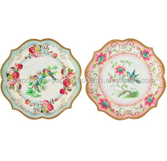 charming vintage style party plates food platters paper plates 30cm 2 diferent designs.Vintage Tea Party Paper Serving Plates