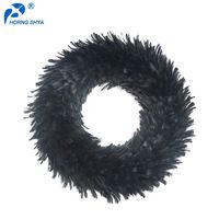 Horng Shya Large Factory For Feather Production High Quality Handmade Decorative Wreath Black Halloween Feather Wreath
