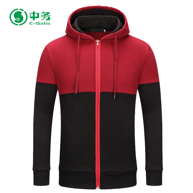 Wholesale Custom Logo Printed Long Sleeve Two Color Mens Zip Up Plain Hoodies
