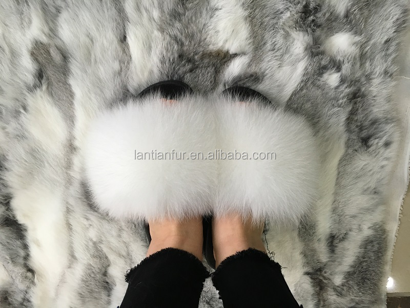 751e6603f7f7 Real Fox Fluffy Slippers fox Fur Slides Rubber fur Sandals - Buy Fur ...