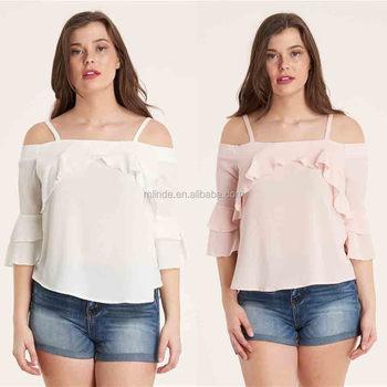 52dfaacbc71 Plus Size Open Shoulder Tops Ruffle Open Shoulder Top Saree Blouse Designs  Women Tops