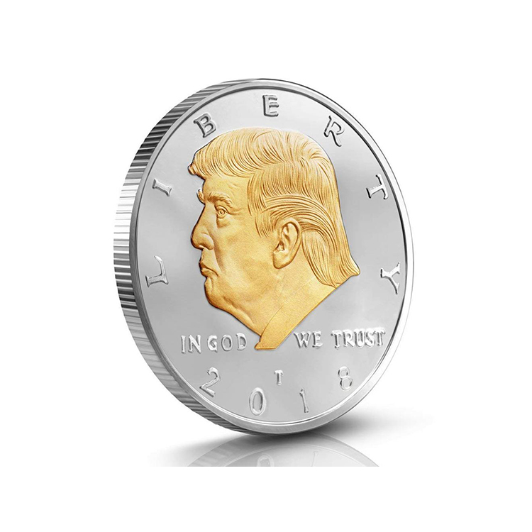 2018 Hot Selling Gold Plated Embossed Commemorative Trump Coin For Collection