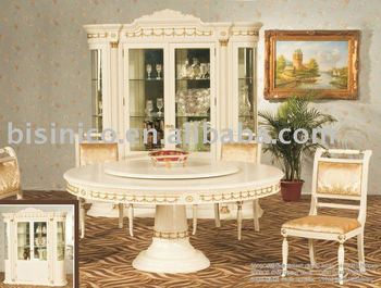 Antique White Colour Dining Room Set Wooden Round Table With Chairs Moq