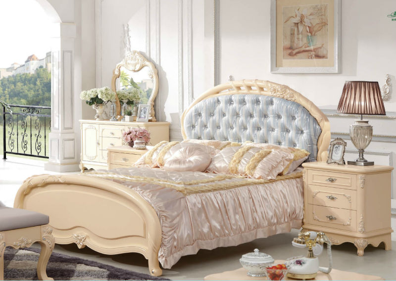 French country style furniture elegant cream white bedroom furniture 9823A#