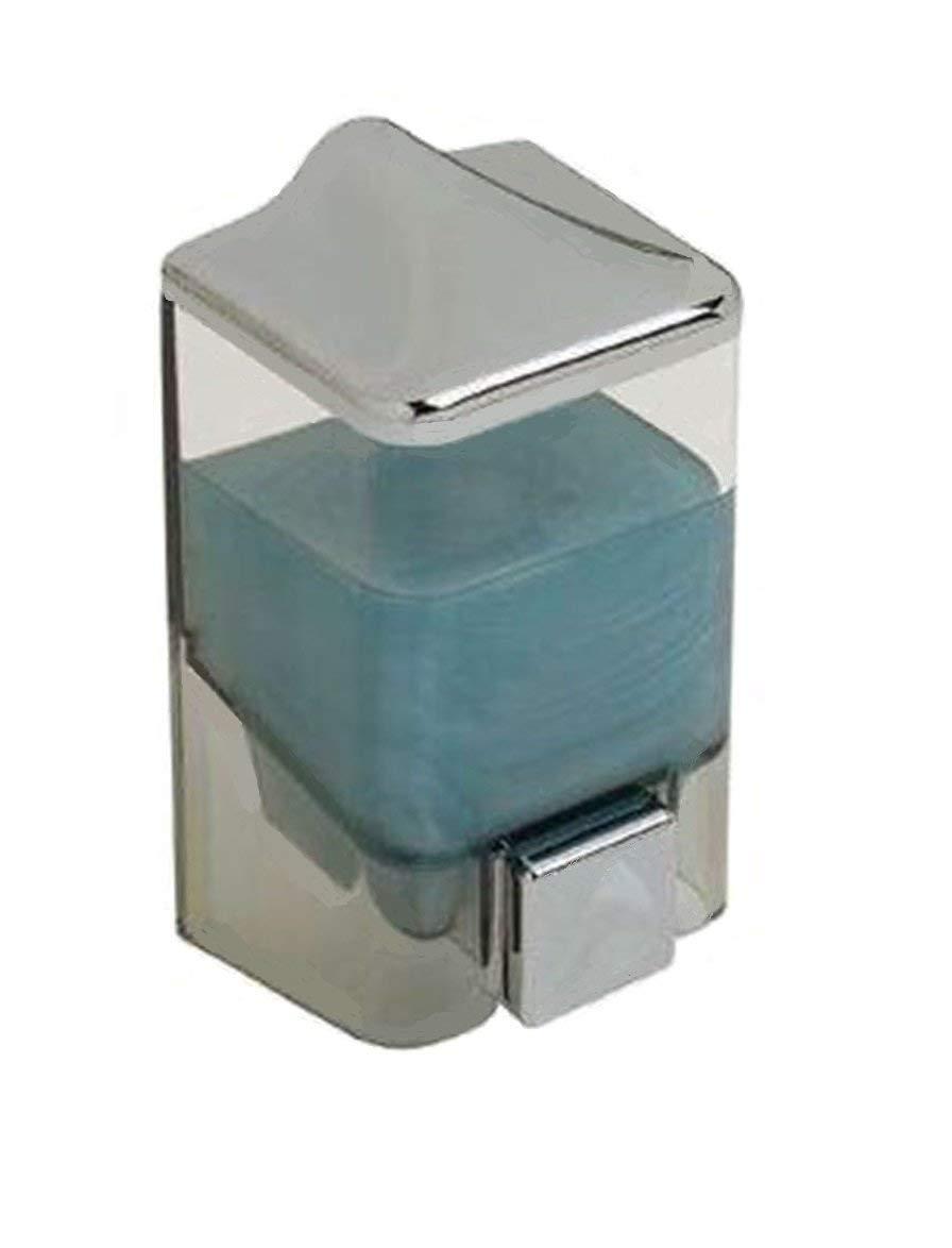 0.5L Liquid Soap Dispenser Bathroom Hand Wash - Plastic & Chrome Wall Mounted Shower Gel (500 ml)
