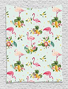 Ambesonne Flamingo Decor Collection, Flamingo Bird and Tropical Flowers Fruits Pineapples Plumeria Vintage Style Art, Bedroom Living Room Dorm Wall Hanging Tapestry, Pink Salmon Coral Green