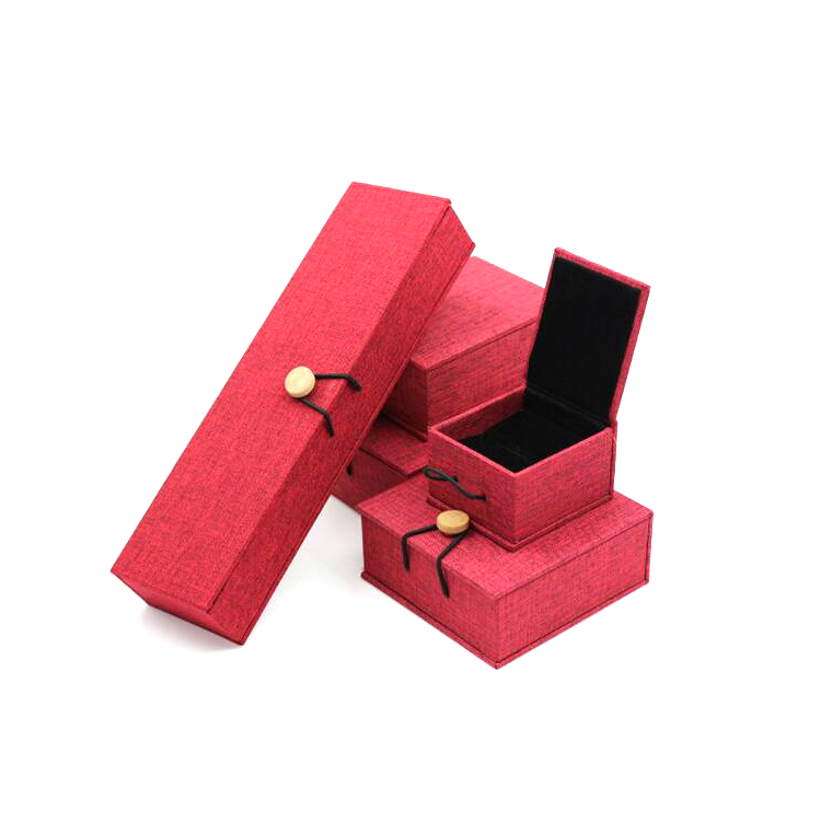 Free Sample High-grade Vintage Jewelry Wooden Box,linen Wooden Buckle Packaging Custom Wooden Box