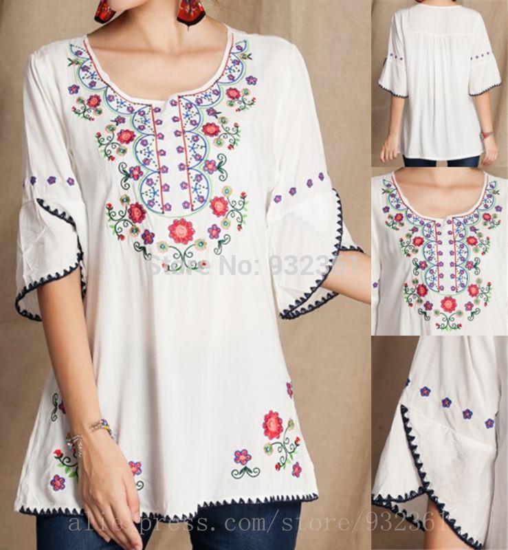 Vintage mexicano Floral bordado camisas casuales ropa