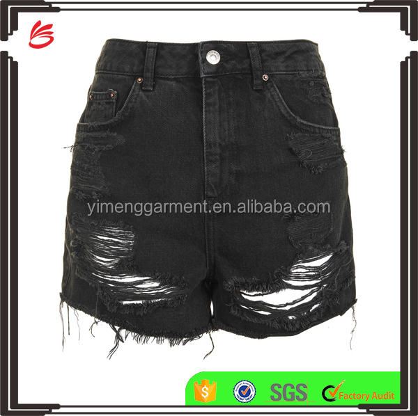 Women Fashionable Wearing Black Distressed High Waisted Denim Shorts