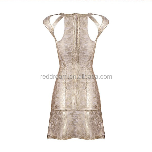 8cc9f3df0761 2016 Top Quality New Design Women Fashion Sexy Party Gold Foil Midi Luxe  Bandage Dress