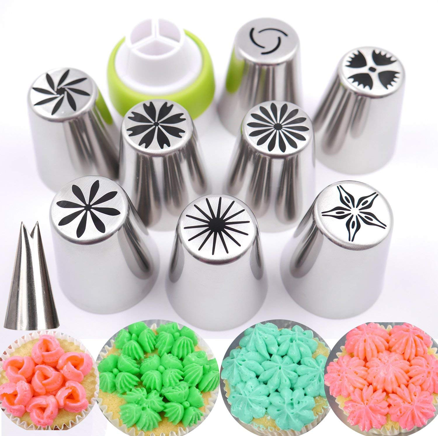 KOOTIPS Russian Piping Tips 20 Pcs/SET 8 Extra Large Stainless Steel Pastry Nozzle Tips and 1 Leaf Tips, 1 XL Coupler with 10 Disposable Pastry Icing Bags