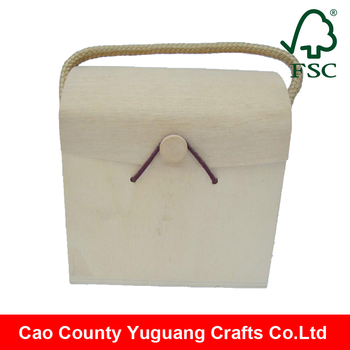 wholesale custom cheap small wooden christmas gift box with rope handles