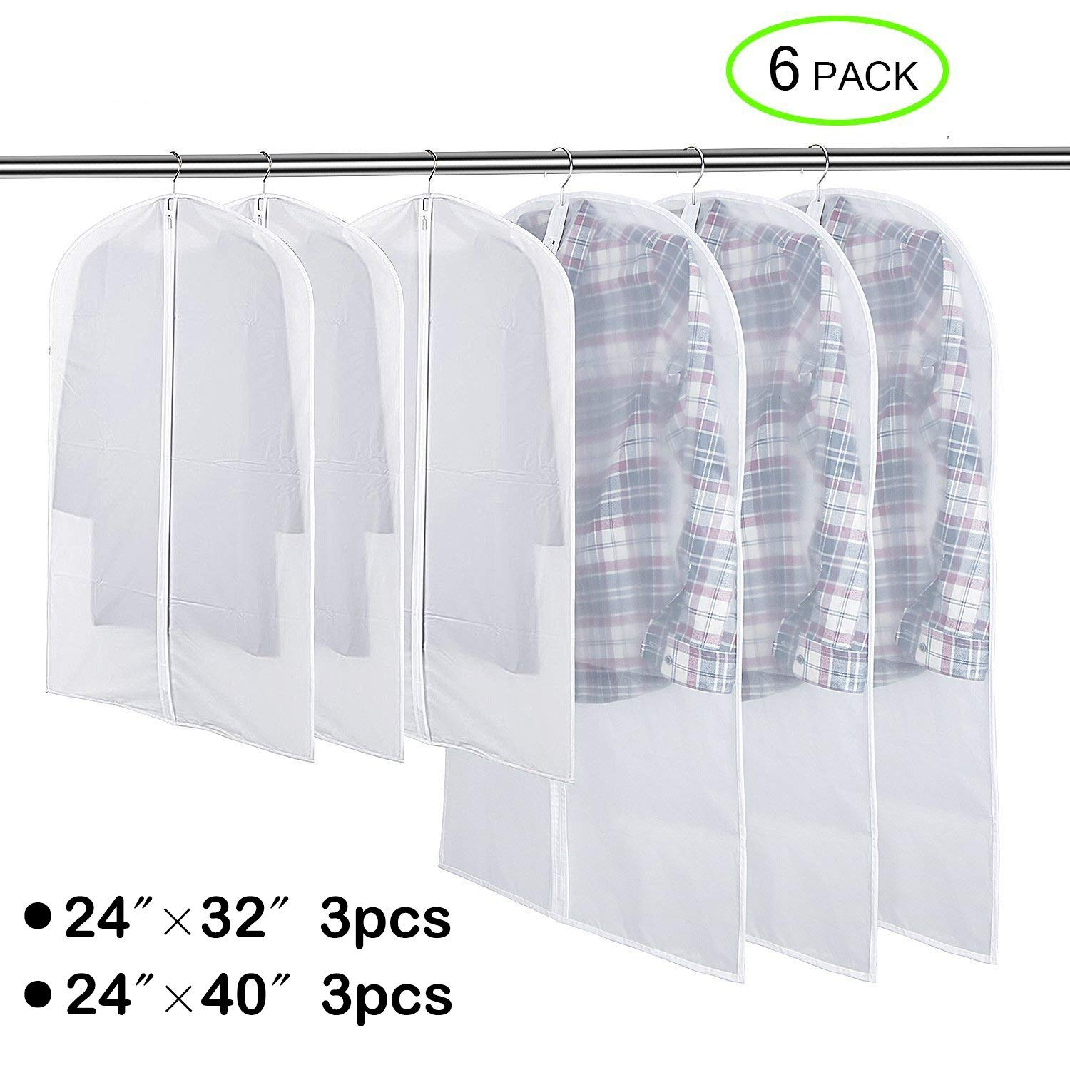 Flee 40'' 6 Pack Garment Bag For Closet Storage,Hanging Suit Bags Clear Cover Foldable Breathable Moth-proof Medium & Large Dresses Bags Set,Sturdy Full Zipper Dustproof Bag for ClothesTravel