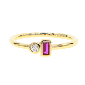High quality tiny band gold rings with ruby cz paved stackable rings for women gold finger rings
