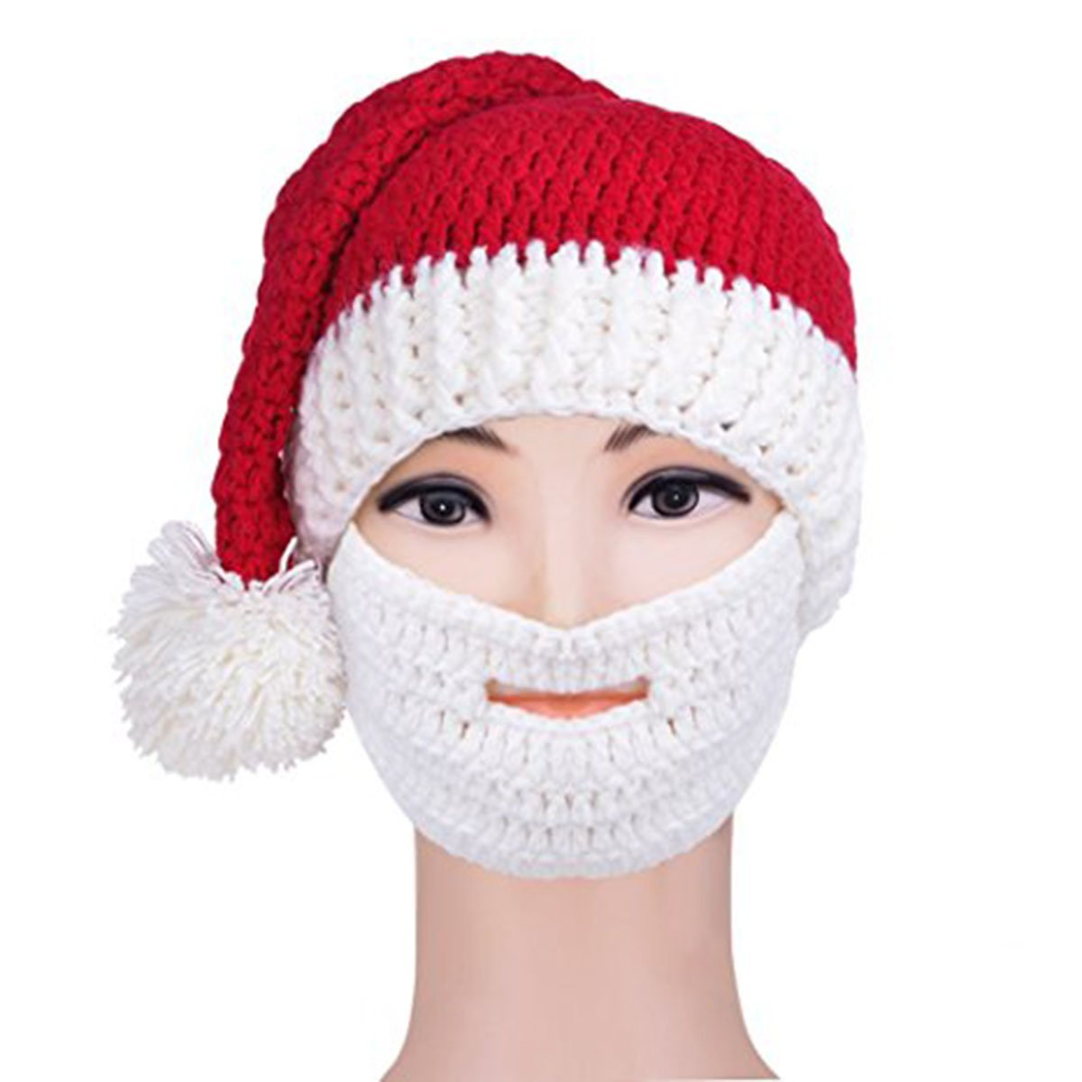 51955d0eb19 Get Quotations · Pakala66 Santa Beard Hat- Knitted Winter Hat with Beard  Christmas Santa Beanie for Men