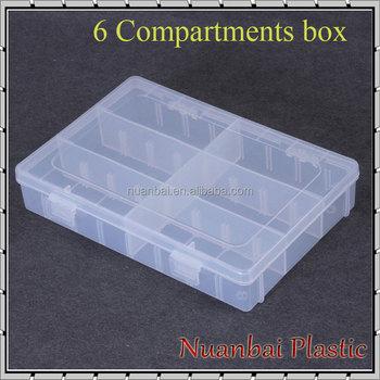 Clear Jewelry Box Organizer Adjustable Plastic Storage Box With 6