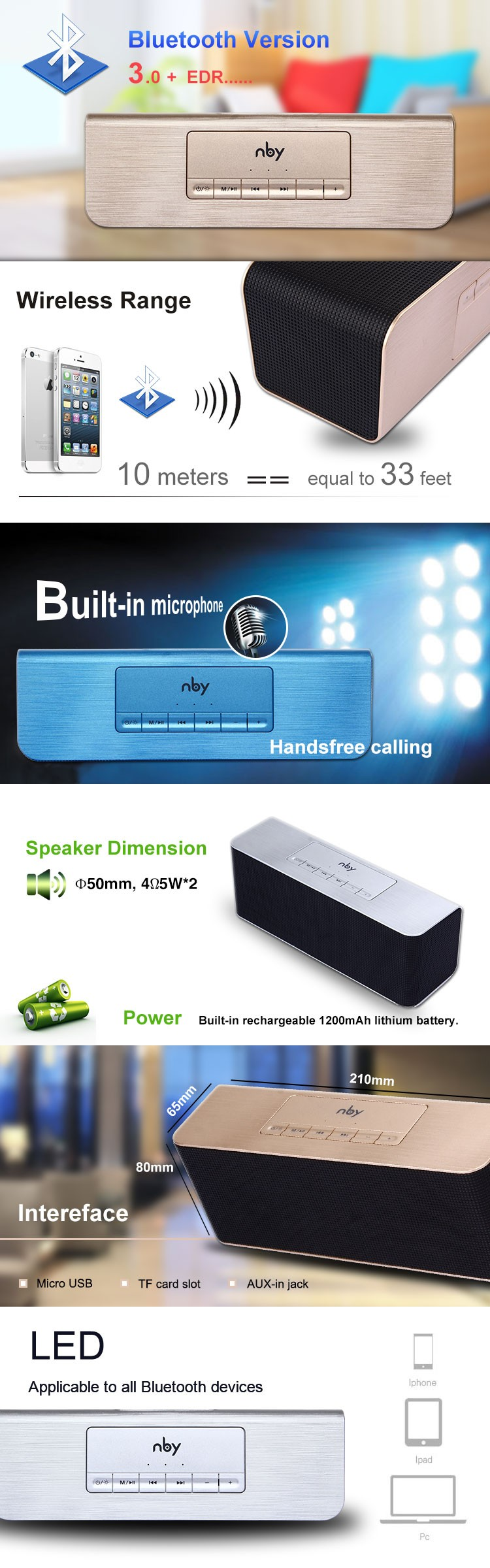 Nby-002 Bluetooth Usb Home Theatre Subwoofer Speaker