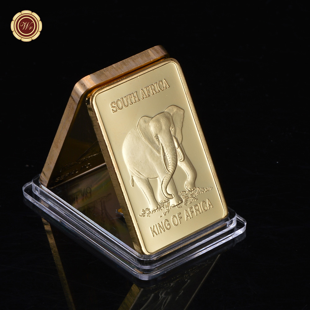 Wr Zinc Alloy Gold Bar South Africa Metal Plated Elephant Pattern Bullion Replica 1 Pc Sample