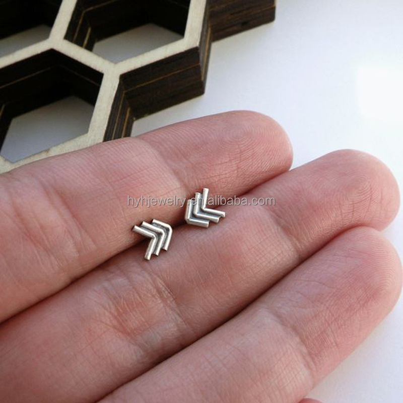Hot jewelry real 925 sterling silver chevron earring minimalist tiny arrow earring birthday gift