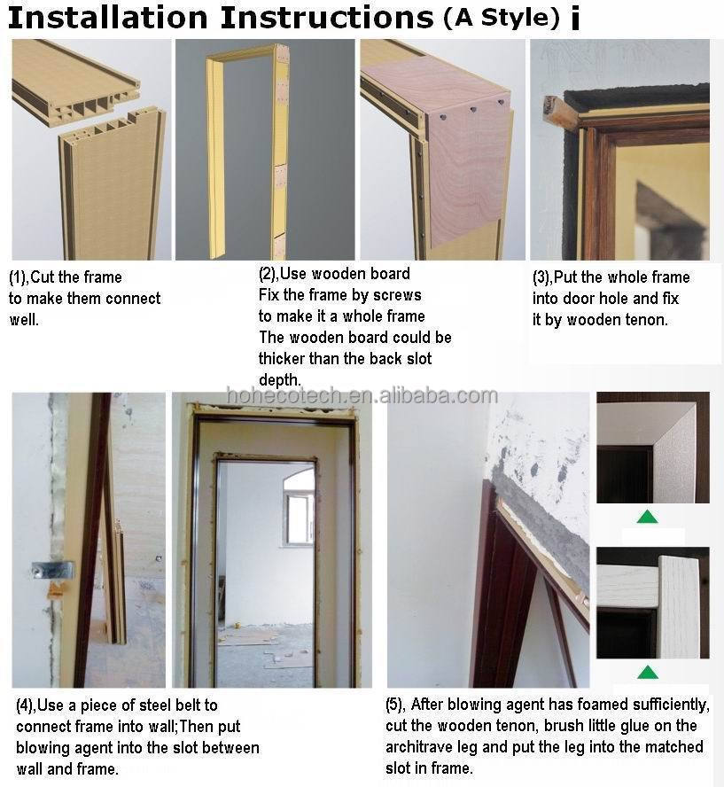 popular a style laminated wpc door frame door pocket wpc door