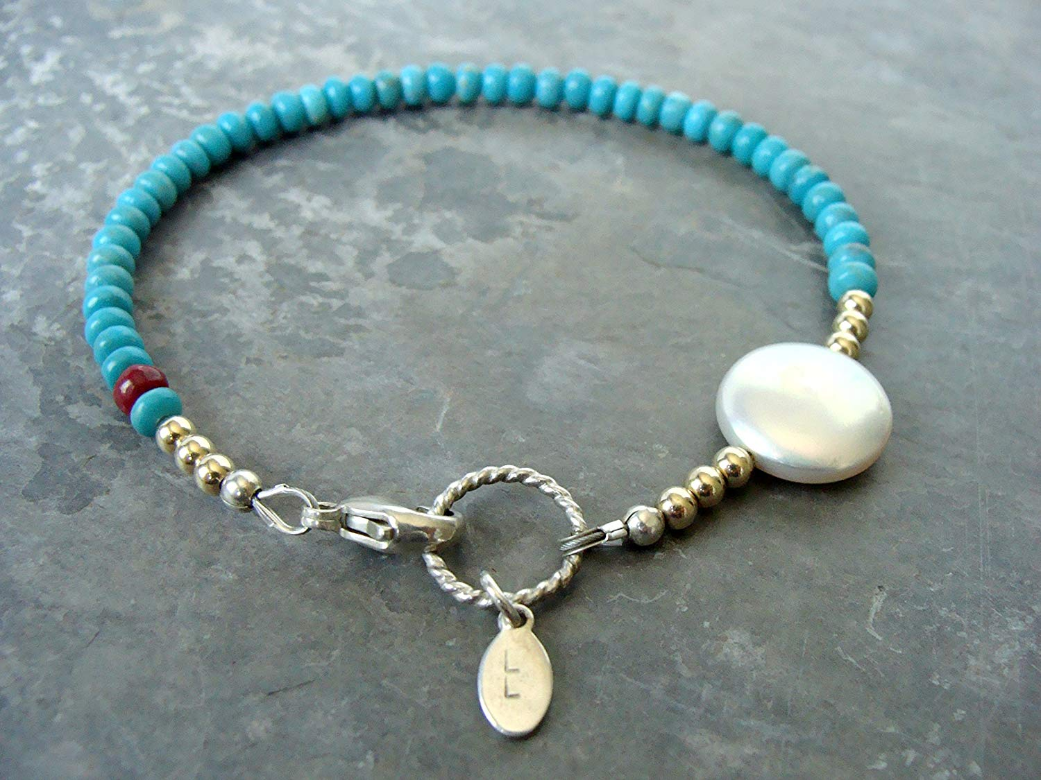 Turquoise bracelet with white coin pearl, ruby, sterling silver and 14kt gold-fill, asymmetrical design, handmade by Let Loose Jewelry, something a little different