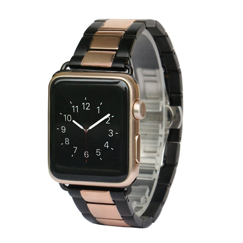 AWSTECH Apple Watch Band 42mm Stainless Steel Replacement Smart Watch Band Wrist Strap Bracelet with Butterfly Buckle Clasp for Apple Watch All Models Black Rose Gold