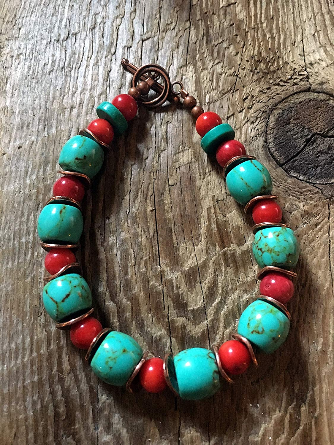 Turquoise Bracelet - Large Turqoise Barrel Beads, Red Coral Ball Beads with Wavy Brushed Copper Disc Spacers and a Swirl Copper Toggle Clasp