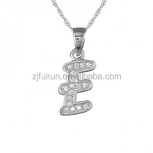 Girls Initial Letter E Necklace Sterling Silver E Pendant Statement Necklace