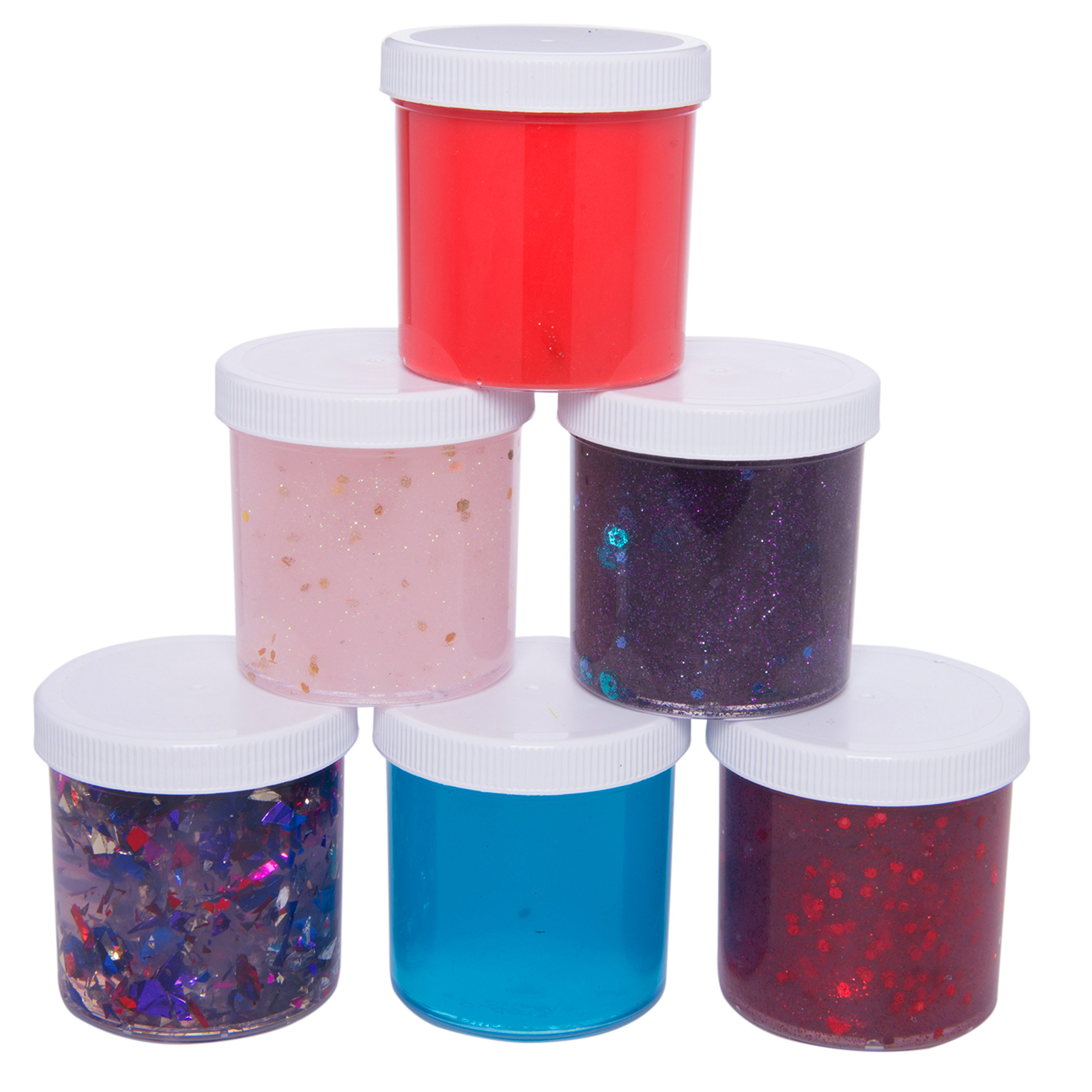 SCS Direct Slime Storage Jars 6oz (6 Pack) - Maddie Rae's Clear Containers For All Your Glue Putty Making