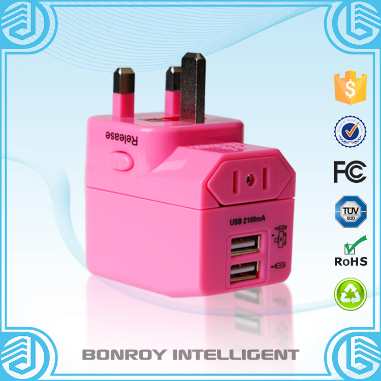Bonroy original design folding worldwide all in one universal china supplier usb charger with UK AUS US EURO plugs