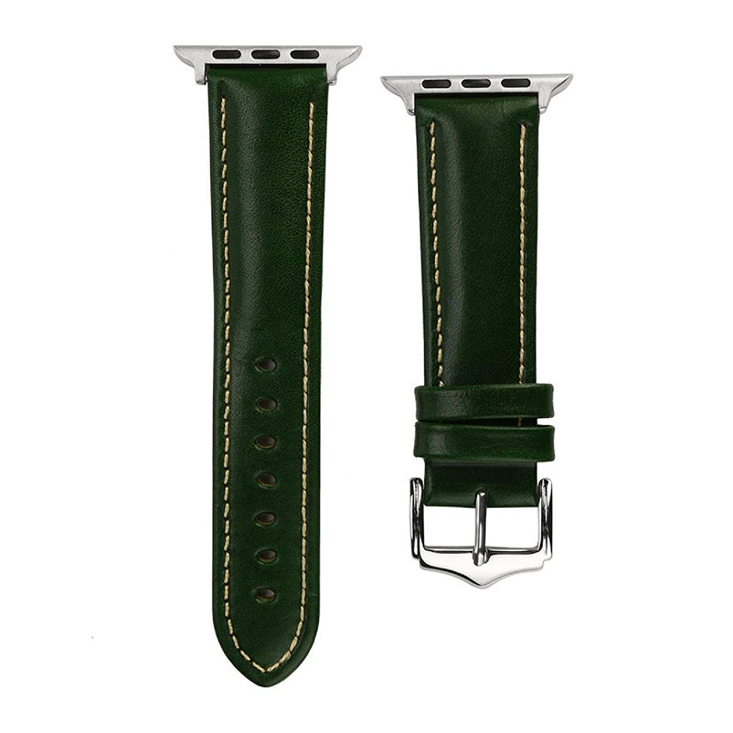 Owill Replacement Leather Knitting Edge Watch Bracelet Strap Band For Apple Watch Series 1/2/3 38mm, Band Length: 120+75MM (Green)
