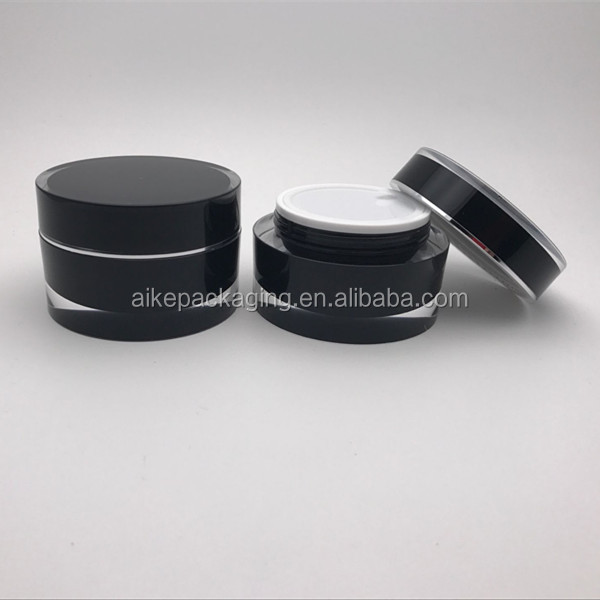black color acrylic material skin care packaging cosmetic jar plastic containers jar for cosmetic