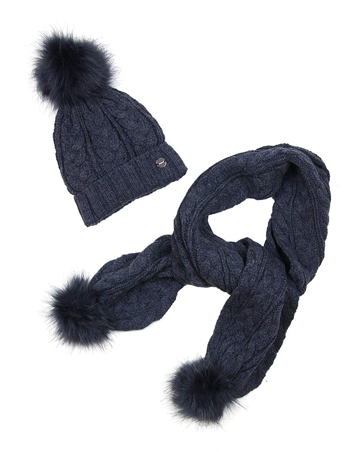 33c86feb58f Get Quotations · Mayoral Junior Girl s Cable Knit Hat and Scarf with  Pompoms Indigo